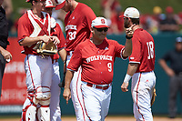 North Carolina State Wolfpack head coach Elliott Avent (9) signals for a relief pitcher during the game against the Army Black Knights at Doak Field at Dail Park on June 3, 2018 in Raleigh, North Carolina. The Wolfpack defeated the Black Knights 11-1. (Brian Westerholt/Four Seam Images)