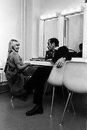 October 20th, 1966. Manhattan, NYC. Ulla Thorsell and Charles Aznavour at dressing room in the CBS Television Studio.