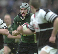 Sport - Rugby 27/04/2002 Parker Pen Shield - Semi-Final.London Irish vs Pontypridd - Kassam Stadium - Oxford.Declan Danaher looks for the gap..[Mandatory Credit, Peter Spurier/ Intersport Images].