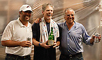 Left to right:  Reno Aces Stuart Katzoff, Brett Butler and Jerry Katzoff celebrate their teams win over the Sacramento River Cats on Sunday afternoon, September 9, 2012 in Reno, Nevada.