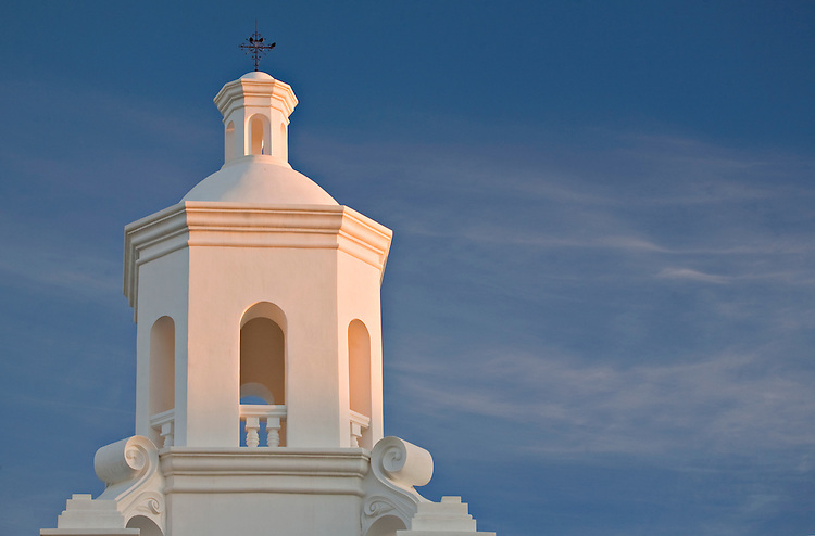 Church tower of the San Xavier del Bac Mission near Tucson, Arizona