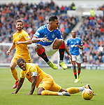 14.09.2019 Rangers v Livingston: Alfredo Morelos booted up in the air by Marvin Bartley