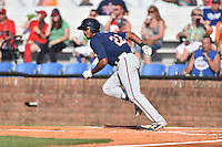 Johnson City Cardinals left fielder Roberto Gonzalez (22) runs to first during a game against the Elizabethton Twins at Howard Johnson Field at Cardinal Park on June 26, 2016 in Johnson City, Tennessee. The Twins defeated the Cardinals 13-12. (Tony Farlow/Four Seam Images)