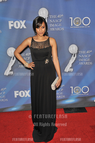 Tia Mowry at the 40th NAACP Image Awards at the Shrine Auditorium, Los Angeles..February 12, 2009 Los Angeles, CA.Picture: Paul Smith / Featureflash