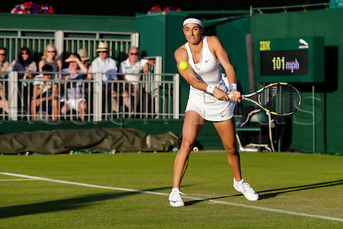 29.06.2015.  Wimbledon, England. The Wimbledon Tennis Championships.  Ladies' Singles first round match between thirty second seed Caroline Garcia (FRA) & Heather Watson (GBR).  Caroline Garcia in action