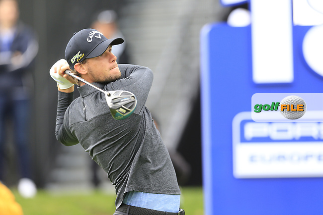Thomas Pieters (BEL) on the 18th tee during the 1st round at the Porsche European Open, Green Eagles Golf Club, Luhdorf, Winsen, Germany. 05/09/2019.<br /> Picture Fran Caffrey / Golffile.ie<br /> <br /> All photo usage must carry mandatory copyright credit (© Golffile | Fran Caffrey)