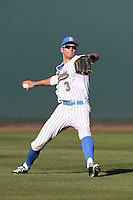 Christoph Bono (3) of the UCLA Bruins in the field during a game against the Hofstra Pride at Jackie Robinson Stadium on March 14, 2015 in Los Angeles, California. UCLA defeated Hofstra, 18-1. (Larry Goren/Four Seam Images)
