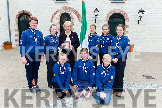Killarney Scouts made a presentation to Minister Heather Humphriesat the official opening of Killarney House on Monday front row l-r: Aisling Coghlan, Niam Coghlan, Tristan Carroll. Back row: Dylan Carroll, Daragh Doolan, Natalia Skiba, Megan Fitzgerald and Aoife O'Brien