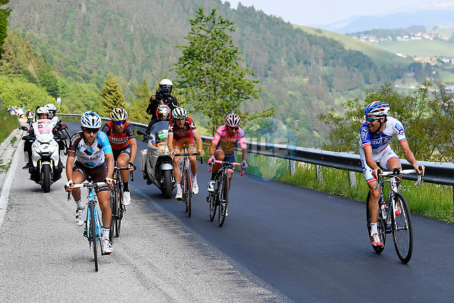 Thibaut Pinot (FRA) FDJ, Domenico Pozzovivo (ITA) AG2R La Mondiale, Nairo Quintana (COL) Movistar Team Maglia Rosa, Vincenzo Nibali (ITA) Bahrain-Merida and Ilnur Zakarin (RUS) Katusha Alpecin during Stage 20 of the 100th edition of the Giro d'Italia 2017, running 190km from Pordenone to Asiago, Italy. 27th May 2017.<br /> Picture: LaPresse/Fabio Ferrari | Cyclefile<br /> <br /> <br /> All photos usage must carry mandatory copyright credit (&copy; Cyclefile | LaPresse/Fabio Ferrari)