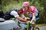 Rigoberto Uran (COL) EF-Drapac-Cannondale receives medical attention during Stage 10 of the 2018 Tour de France running 158.5km from Annecy to Le Grand-Bornand, France. 17th July 2018. <br /> Picture: ASO/Pauline Ballet | Cyclefile<br /> All photos usage must carry mandatory copyright credit (&copy; Cyclefile | ASO/Pauline Ballet)