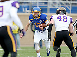 BROOKINGS, SD - NOVEMBER 16: Keaton Heide #13 of the South Dakota State Jackrabbits looks for running room against Chris Kolarevic #48 of the Northern Iowa Panthers during their game Saturday afternoon at Dana J. Dykhouse Stadium in Brookings, SD. (Photo by Dave Eggen/Inertia)