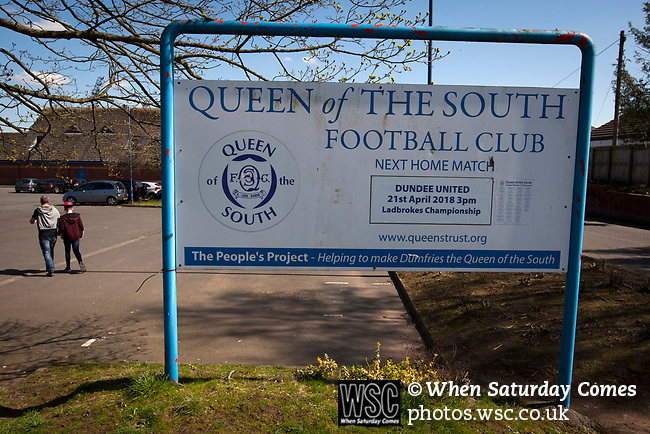 An advertising sign outside Palmerston Park, Dumfries before Queen of the South hosted Dundee United in a Scottish Championship fixture. The home has played at the same ground since its formation in 1919. Queens won the match 3-0 watched by a crowd of 1,531 spectators.