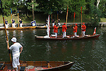Swan Upping. The River Thames near Windsor Berkshire England 2007. Before rowing into Windsor at the end of the first day. The Company of Dyers and Vintners sallute th Queen. The men stand with their oars raised and the Queens Swan Master takes off his hat.