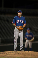 AZL Rangers starting pitcher Joe Palumbo (21) prepares to deliver a pitch in a rehab start during an Arizona League game against the AZL Cubs 2 at Sloan Park on July 7, 2018 in Mesa, Arizona. AZL Rangers defeated AZL Cubs 2 11-2. (Zachary Lucy/Four Seam Images)