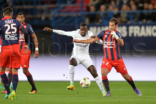 16.09.2016. Caen, France. French Leagie 1 football. Caen versus Paris St Germain.  Blaise Matuidi (psg)challenged by Nicolas Seube (cae)