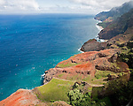 Coast line near Makalena Mountains near the Alaka'i Swamp, during a helicopter ride with Sunshine Helicopter out of the town of Lihu'e on Kaua'i Hawaii.