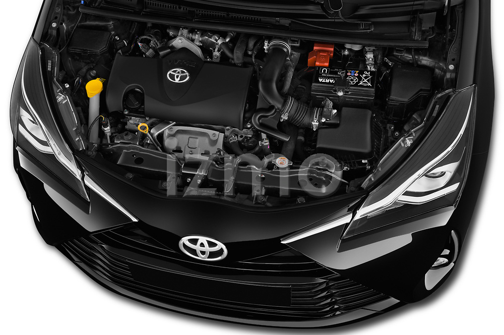 Car stock 2018 Toyota Yaris Lounge 5 Door Hatchback engine high angle detail view