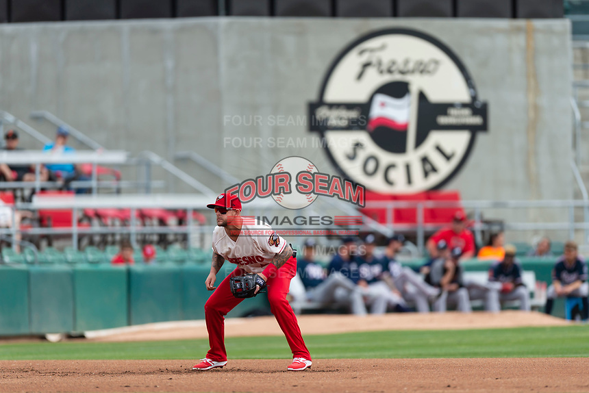 Fresno Grizzlies third baseman Brandon Snyder (10) during a game against the Reno Aces at Chukchansi Park on April 8, 2019 in Fresno, California. Fresno defeated Reno 7-6. (Zachary Lucy/Four Seam Images)