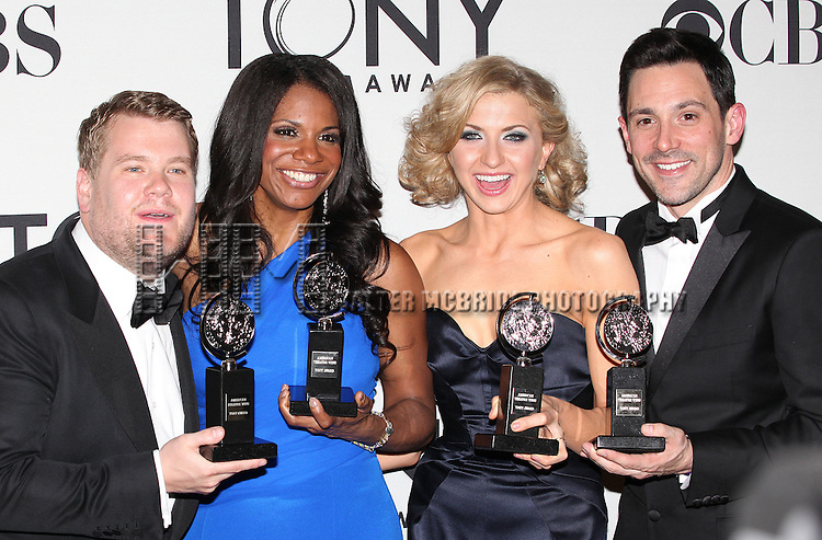 James Corden; Audra McDonald; Nina Arianda; Steve Kazee pictured at the 66th Annual Tony Awards held at The Beacon Theatre in New York City , New York on June 10, 2012. © Walter McBride / WM Photography