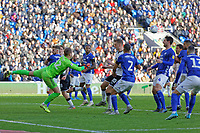 Alex Smithies of Cardiff City (L) punches the ball away during the Sky Bet Championship match between Cardiff City and Swansea City at the Cardiff City Stadium, Cardiff, Wales, UK. Sunday 12 January 2020