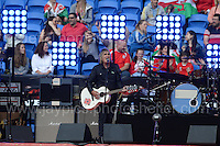 Mike Peters of the rock band Alarm performs during the homecoming celebrations at the Cardiff City stadium on Friday 8th July 2016 for the Euro 2016 Wales International football squad.<br /> <br /> <br /> Jeff Thomas Photography -  www.jaypics.photoshelter.com - <br /> e-mail swansea1001@hotmail.co.uk -<br /> Mob: 07837 386244 -