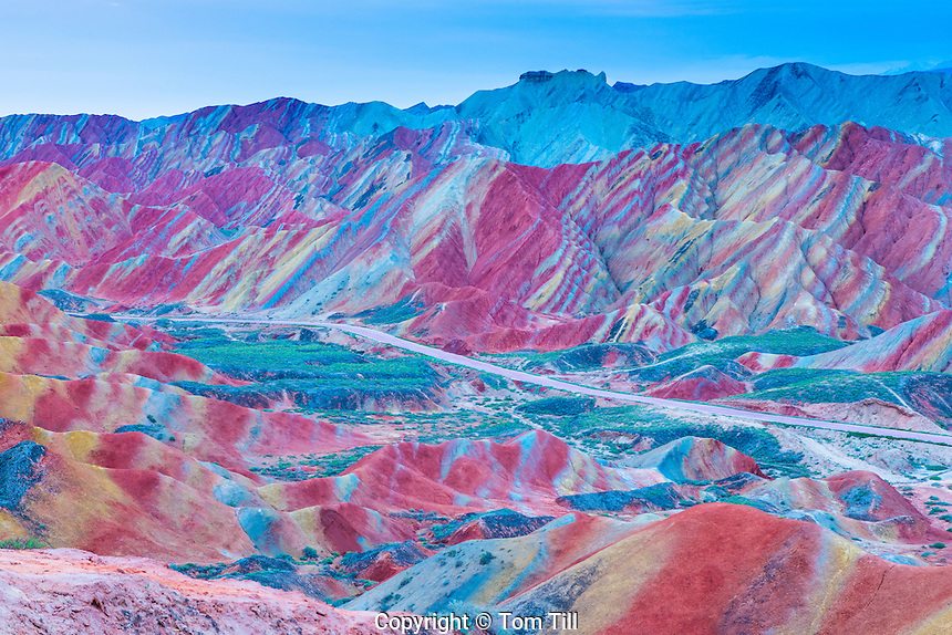 Colorful forms at Zhanhye Danxie Geo Park, China  Gansu Province, Ballands eroded in muliple colors