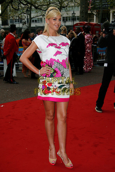 """DANIELLE LLOYD.World Premiere of """"Three and Out"""" at the Odeon Leicester Square, London, England, April 21st 2008.3 full length white dress pink red zebra bird print motif hand on hip platform shoes peep toe .CAP/DAR.©Darwin/Capital Pictures"""
