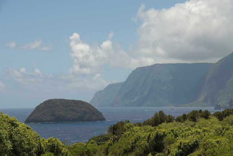 Hawaii: Molokai, scenic cliffs and ocean at Kalawao, seafins ..Photo himolo102-71881..Photo copyright Lee Foster, www.fostertravel.com, lee@fostertravel.com, 510-549-2202