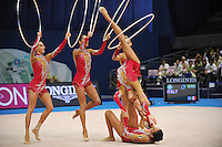September 13, 2009; Mie, Japan;  Italian rhythmic group performs in 5-hoops Event Final after winning gold in group All Around at the 2009 World Championships Mie, Japan. Photo by Tom Theobald.