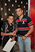 Roller Mills Most Improved Player Logan Fonoti with Steeler Sherwin Stowers. Counties Manukau Representative Teams prize givung held at Bayer Growers Stadium on Thursday October 28th 2010.