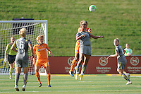Lianne Sanderson (10) of the Philadelphia Independence goes up for a header. The Philadelphia Independence defeated Sky Blue FC 2-1 during a Women's Professional Soccer (WPS) match at John A. Farrell Stadium in West Chester, PA, on June 6, 2010.