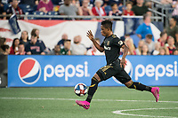 FOXBOROUGH, MA - AUGUST 3: Latif Blessing #7 of Los Angeles FC in full stride during a game between Los Angeles FC and New England Revolution at Gillette Stadium on August 3, 2019 in Foxborough, Massachusetts.