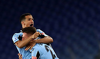 Football, Serie A: S.S. Lazio - Cagliari, Olympic stadium, Rome, July 23, 2020. <br /> Lazio's Sergej Milinkpvic-Savic (r) celebrates after scoring with his teammate Luiz Felipe Ramos (l) during the Italian Serie A football match between Lazio and Cagliari at Rome's Olympic stadium, Rome, on July 23, 2020. <br /> UPDATE IMAGES PRESS/Isabella Bonotto