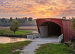 Madison County, IA: Hogback covered bridge (1884) on North River at sunset
