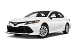 Stock pictures of low aggressive front three quarter view of a 2018 Toyota Camry LE Auto 4 Door Sedan
