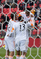 20 April 2013: Houston Dynamo defender Warren Creavalle #5 celebrates his equalizing goal during the second half in an MLS game between the Houston Dynamo and Toronto FC at BMO Field in Toronto, Ontario Canada..The game ended in a 1-1 draw...