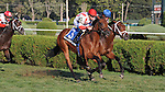 Balance the Books (no. 3), ridden by Julien Leparoux and trained by Chad Brown, wins the grade 2 With Anticipation Stakes for two year olds on August 30, 2012 at Saratoga Race Track in Saratoga Springs, New York.  (Bob Mayberger/Eclipse Sportswire)