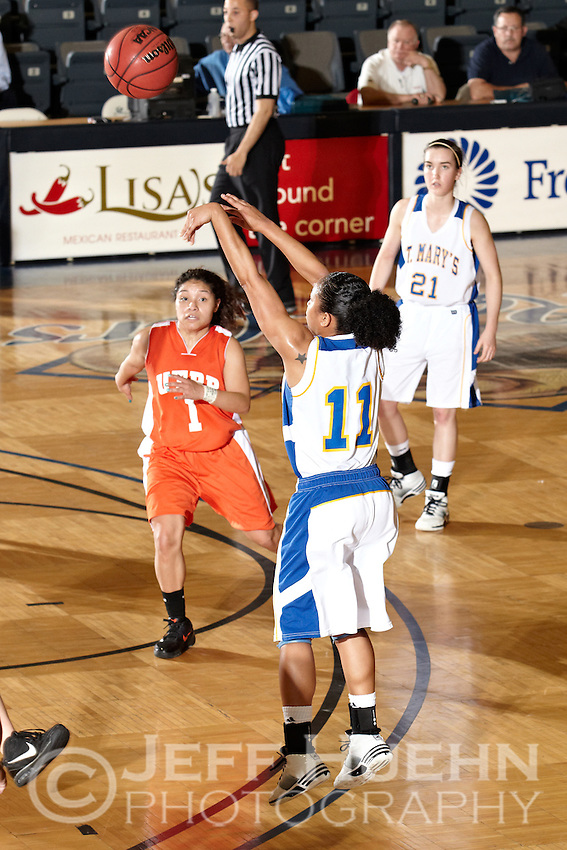 SAN ANTONIO , TX - MARCH 5, 2010: Heartland Conference Women's Basketball Tournament Semi-Finals featuring the University of Texas of the Permian Basin Falcons vs. the St. Mary's University Rattlers at the Bill Greehey Arena. (Photo by Jeff Huehn)