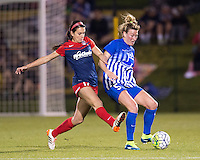 Boyds, MD - April 16, 2016: Boston Breakers defender Kassey Kallman (5) and Washington Spirit forward Cali Farquharson (17). The Washington Spirit defeated the Boston Breakers 1-0 during their National Women's Soccer League (NWSL) match at the Maryland SoccerPlex.