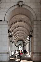 People walking in the west loggia at the front of Washington Union Station in Washington, DC