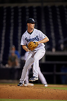 Tampa Tarpons relief pitcher Braden Bristo (5) during a Florida State League game against the St. Lucie Mets on April 10, 2019 at George M. Steinbrenner Field in Tampa, Florida.  St. Lucie defeated Tampa 4-3.  (Mike Janes/Four Seam Images)