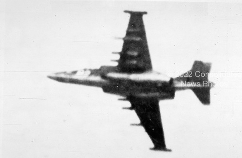 "United States Department of Defense released its 1985 assessment of Soviet Military Power at the Pentagon in Washington, DC on April 2, 1985.  The release stated ""The Soviets' modern, heavily armed ground attack aircraft FROGFOOT continues to be employed in an attack role against Afghan freedom fighters.""<br /> Credit: Department of Defense via CNP"