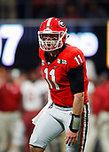 January 8th 2018, Atlanta, GA, USA; Georgia Bulldogs quarterback Jake Fromm (11) reacts after a touchdown during the College Football Playoff National Championship Game between the Alabama Crimson Tide and the Georgia Bulldogs on January 8, 2018 at Mercedes-Benz Stadium in Atlanta, GA.