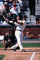 SAN FRANCISCO, CA:  Barry Bonds of the San Francisco Giants bats during a game against the Arizona Diamondbacks at Pacific Bell Park in San Francisco, California on September 6, 2001. (Photo by Brad Mangin)
