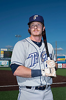 Tri-City Dust Devils outfielder Nick Gatewood (21) poses for a photo before a Northwest League game against the Everett AquaSox at Everett Memorial Stadium on September 3, 2018 in Everett, Washington. The Everett AquaSox defeated the Tri-City Dust Devils by a score of 8-3. (Zachary Lucy/Four Seam Images)