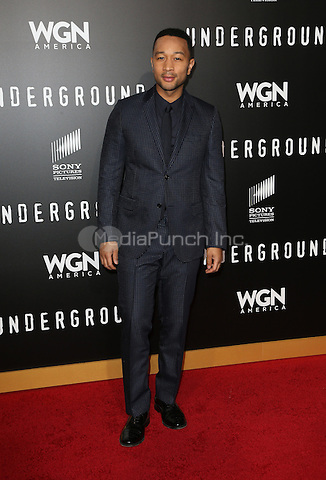 """WESTWOOD, CA - February 28: John Legend, At Premiere Of WGN America's """"Underground"""" Season 2, At The Regency Village Theatre In California on February 28, 2017. Credit: Faye Sadou/MediaPunch"""