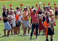 Fans cheer Ball State defeated Virginia 48-27 during an NCAA football game Saturday Oct. 5, 2013 at Scott Stadium in Charlottesville, VA. Photo/Andrew Shurtleff