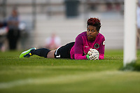 Portland Thorns goalkeeper Karina LeBlanc (1) lays on the turf after making a save. Sky Blue FC and the Portland Thorns played to a 0-0 tie during a National Women's Soccer League (NWSL) match at Yurcak Field in Piscataway, NJ, on June 22, 2013.