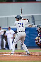 Leonardo Molina (71) of the Pulaski Yankees at bat against the Danville Braves at American Legion Post 325 Field on August 2, 2016 in Danville, Virginia.  The game was cancelled due to rain.  (Brian Westerholt/Four Seam Images)