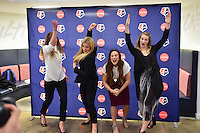 New York, NY - Thursday February 02, 2017: Alyssa Naeher, Kristie Mewis, Stephanie McCaffrey, Samantha Mewis during a joint NWSL and A+E Networks press conference at the A+E headquarters.